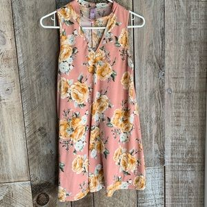 Ayla pastel pink yellow rose sleeveless dress